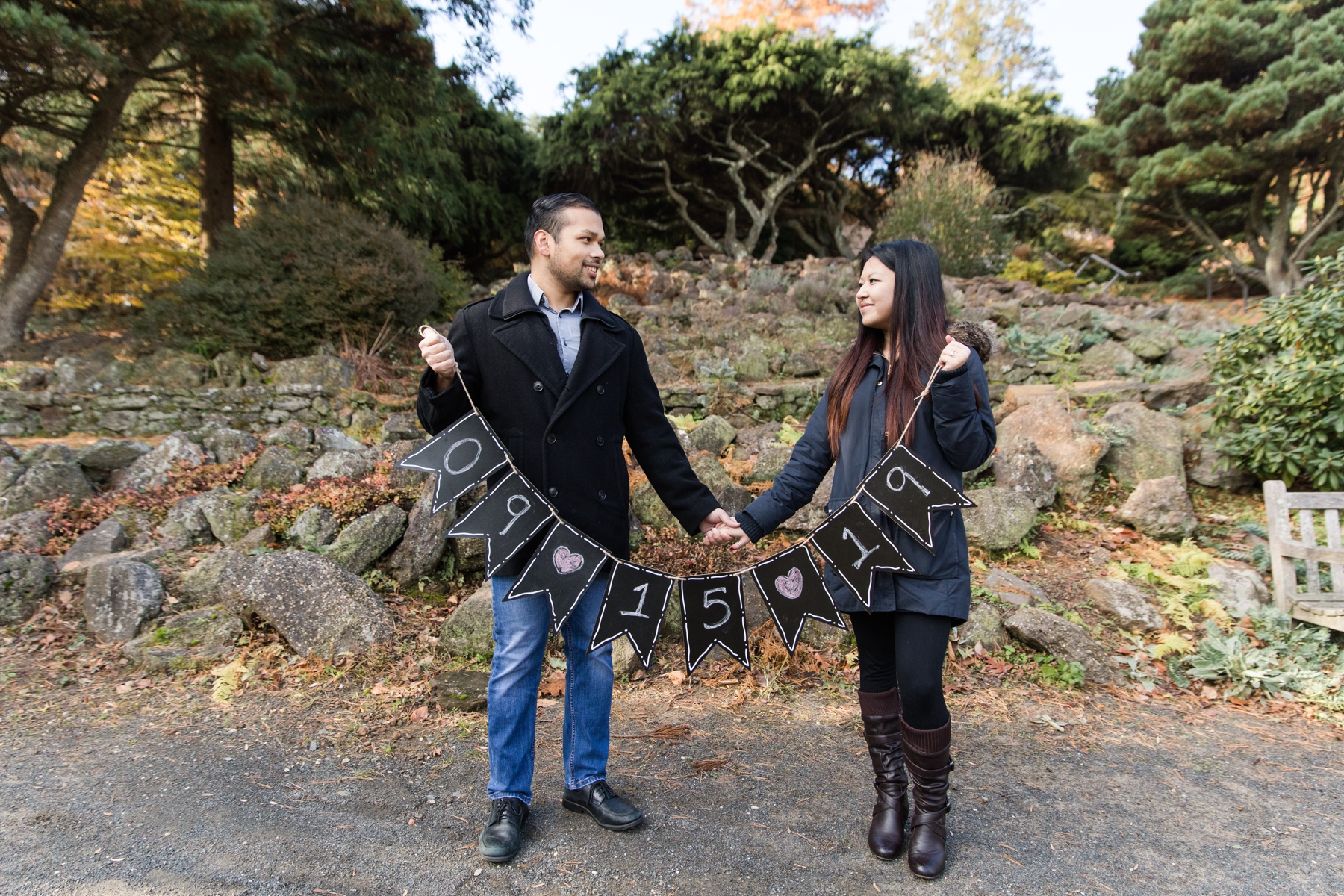 Stephanie and Naveed while holding their Engagement Date