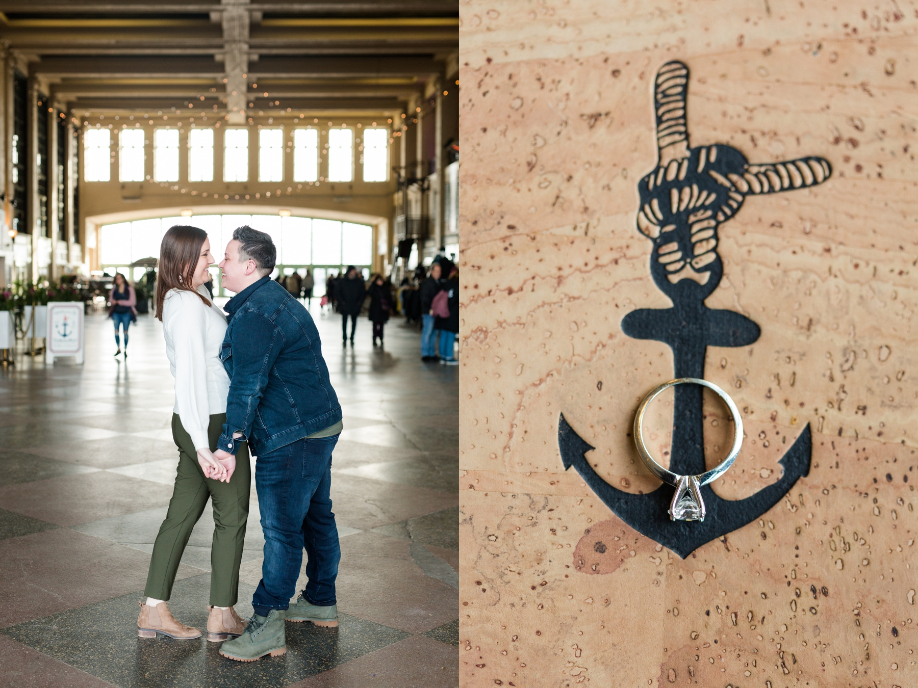 Caitlin + Danielle's Winter Engagement Session on Asbury Park Boardwalk