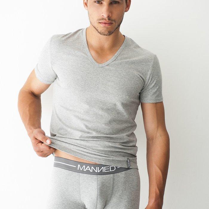 Manned T-shirt v-hals T-Shirt (Grijs)