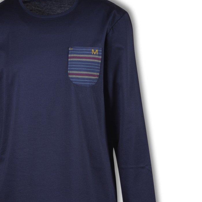 Manned Pyjama Pyjama (Donkerblauw-Bordeaux Gestreept)
