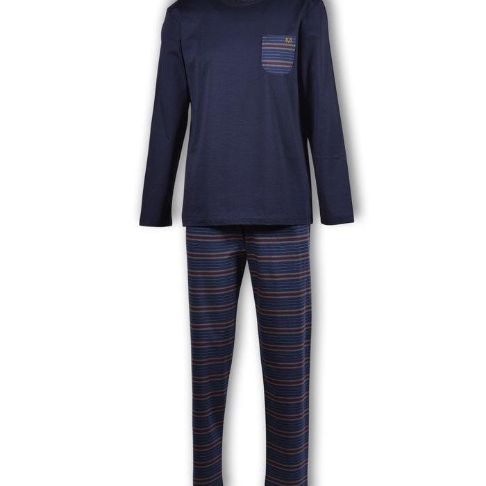 Manned Pyjama Pyjama (Donkerblauw-Bordeaux Gestreept) detail 1.1