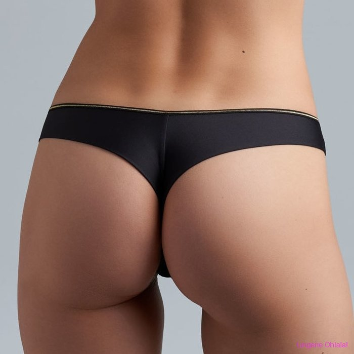 Marlies Dekkers Petit point String (Black and Gold)