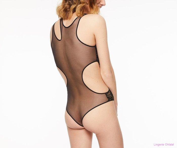 Chantal Thomass Asymetrie Body (Nude Black)