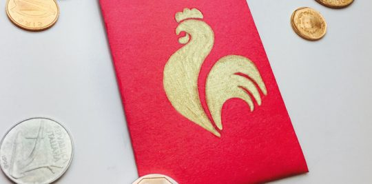 Red envelope with fire rooster