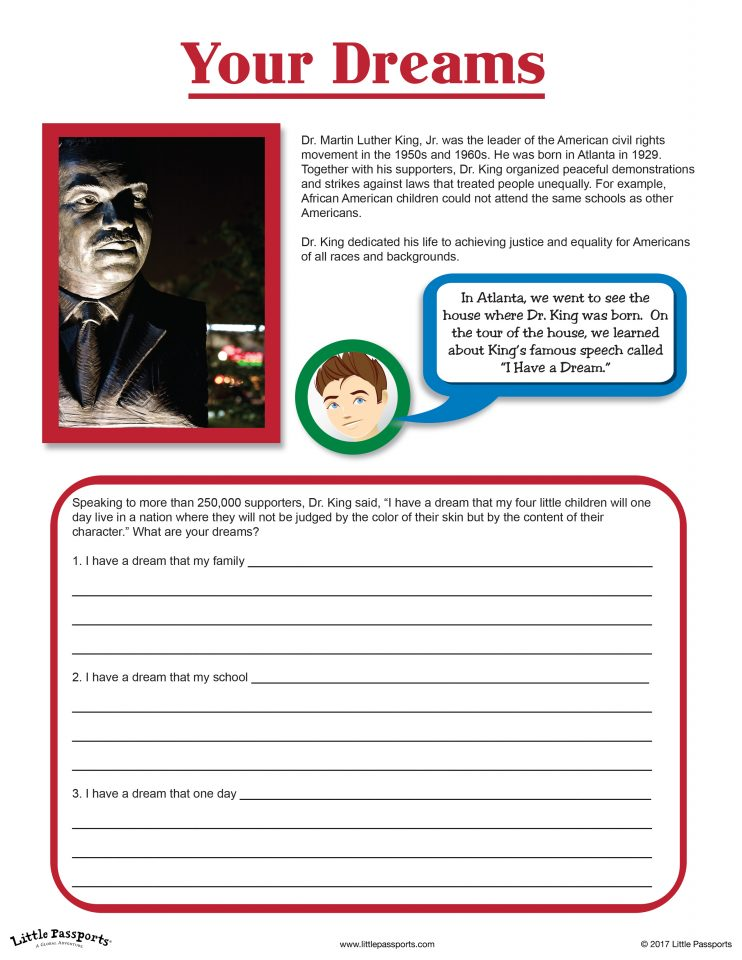 Little Passports -Your Dreams MLK Jr. Worksheet