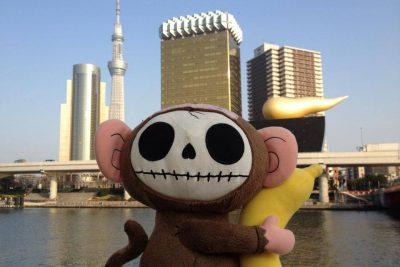 Stuffed monkey traveling in Japan
