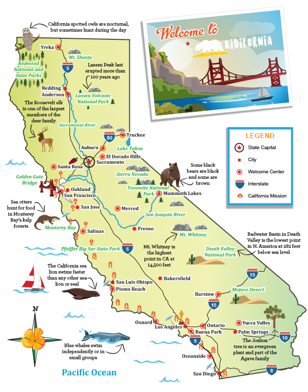 Visit California Little Passports - Califonia map
