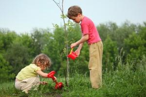 Boy & Girl Gardening