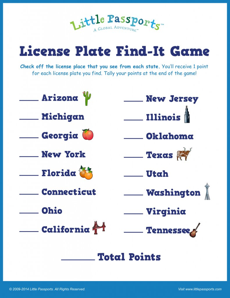 Little Passports License Plate Find It Game Point Scoreboard
