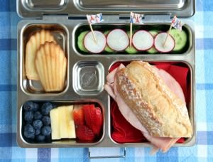 France Bento Complete with Ham Sandwich, Fruit, Veggies & Madeleines
