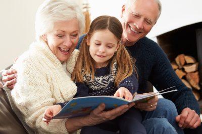 Grandparents reading