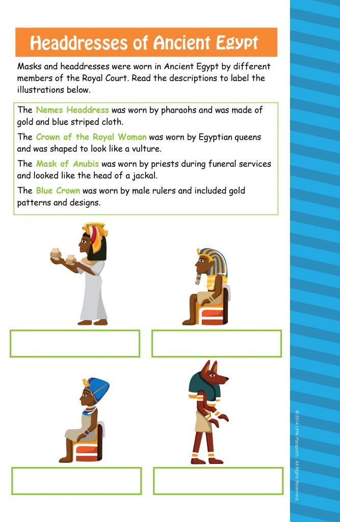 Ancient Egypt Activity Sheet Little Passports