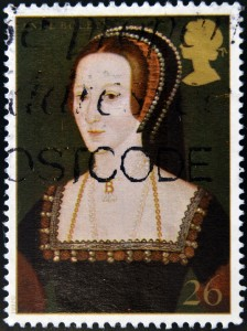 Mail stamp with Anne Boleyn's painted portrait