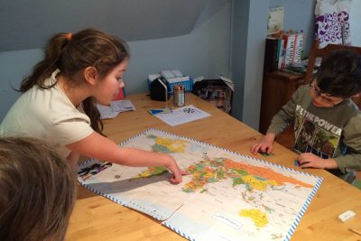 Kids looking at map