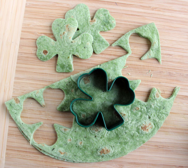 Little Passports Blog St. Patrick's Lunch Three Leaf Clover Cut Outs of Spinach Tortilla