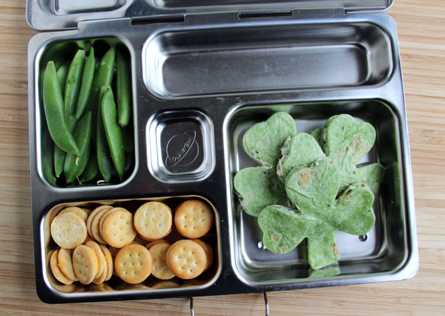 Little Passports Blog St. Patrick's Lunch Plate with Clover Sandwiches, Crackers and Snow Peas