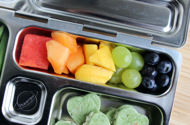 Little Passports Blog St. Patrick's Lunch Fruit Salad in Metal Container