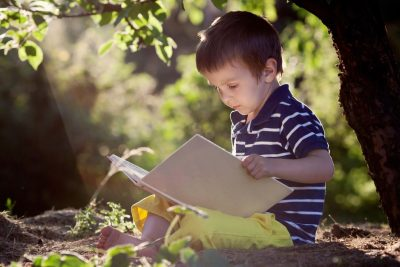 boy reading under a tree