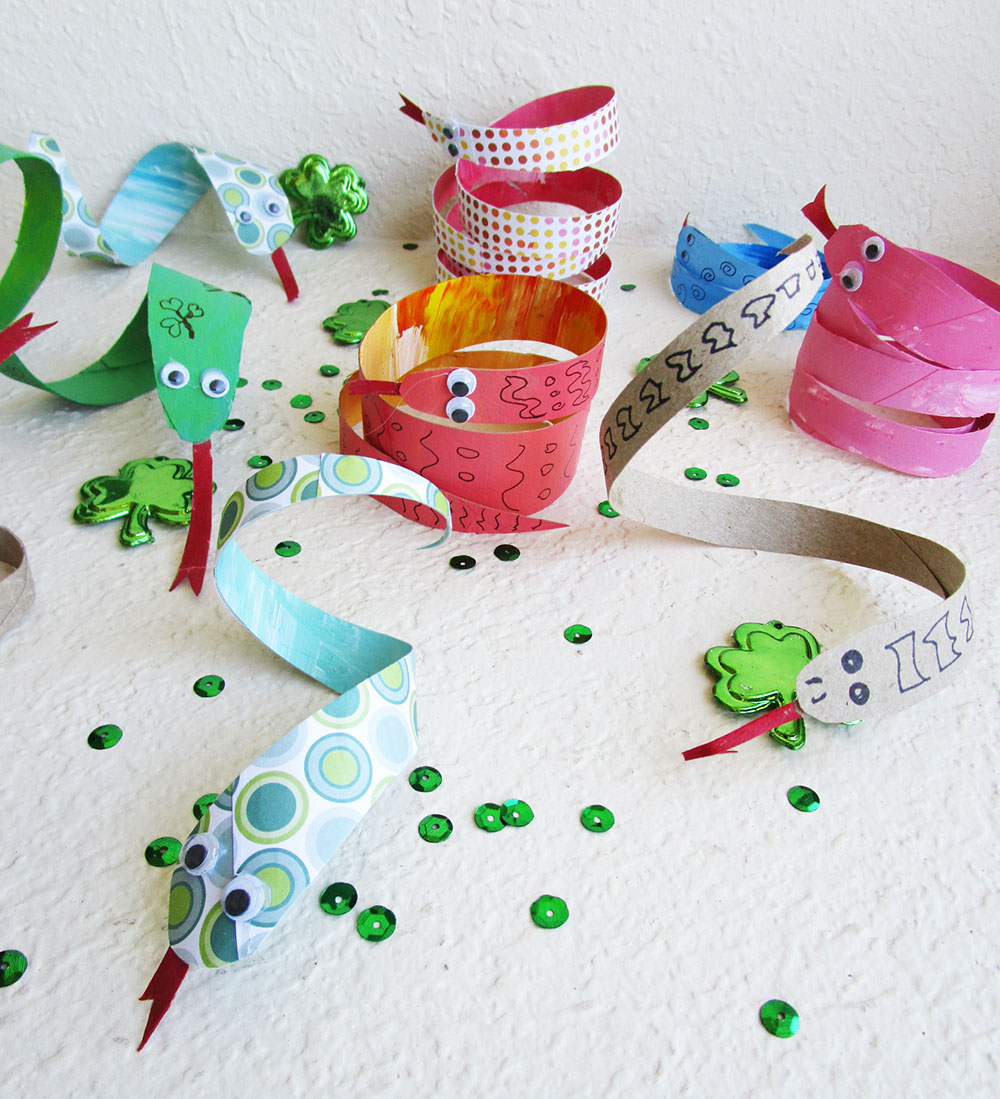 Little Passports Blog St. Patrick's Day Snake Craft Completed Snakes