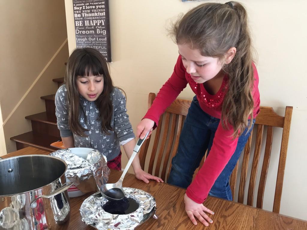 Two girls preparing Edible Science Geodes
