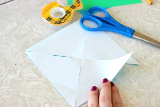 Little Passports Blog DIY Pinwheel Craft Cut Diagonal Paper Towards Center