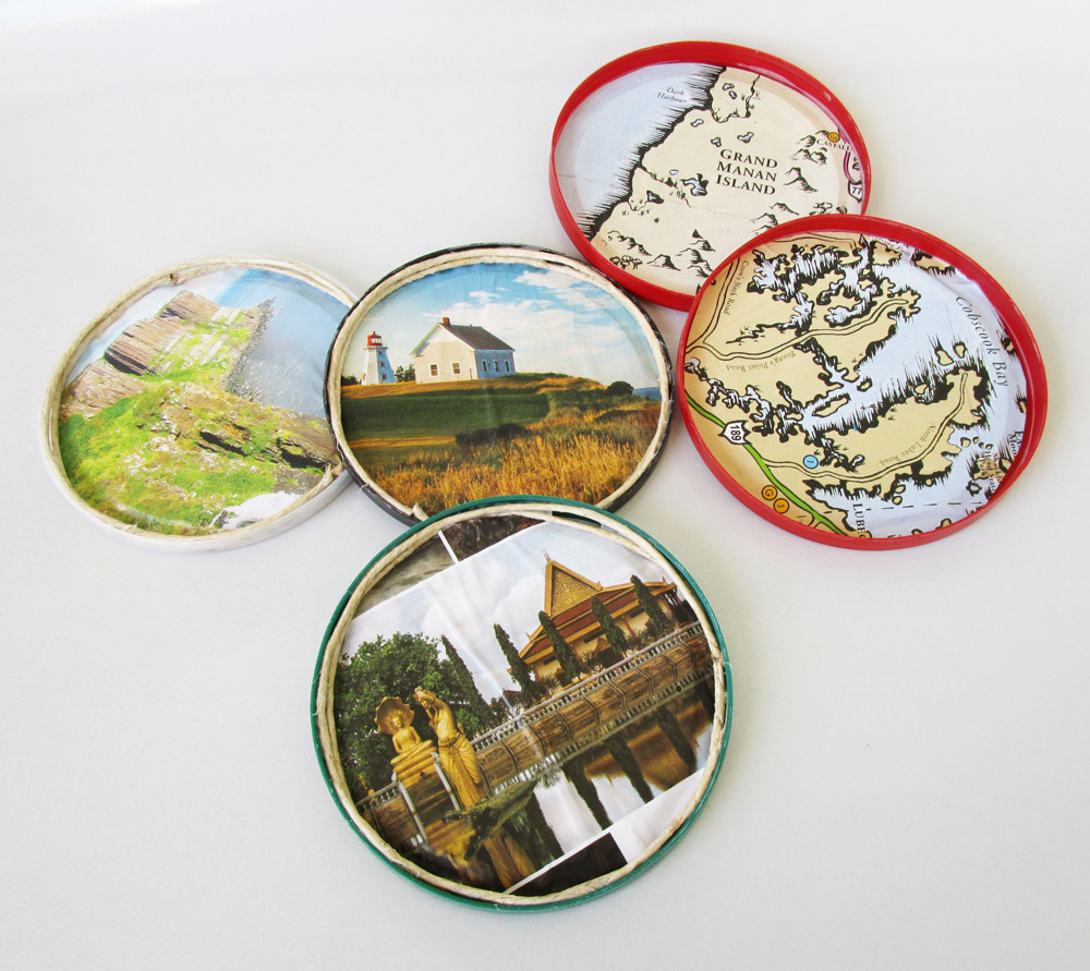 Little Passports Blog Travel Coasters for Teacher Appreciation Finished Coasters