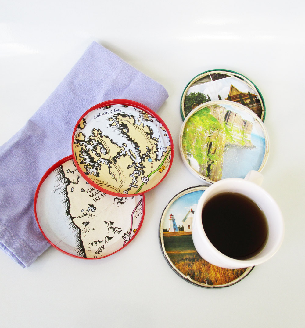 DIY map coasters craft
