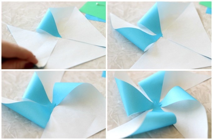Little Passports Blog DIY Pinwheel Craft Folding Paper into Pinwheels