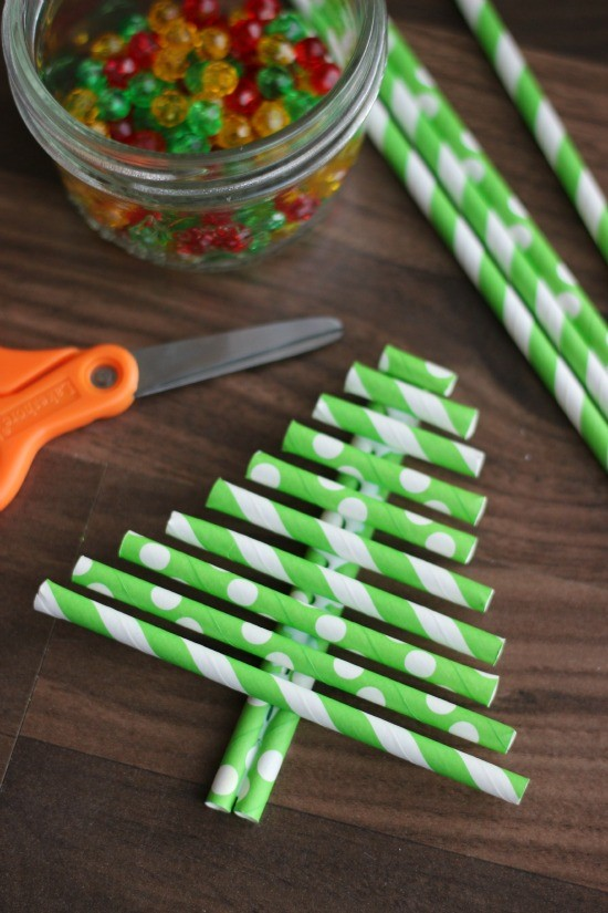 DIY paper straw ornament craft from Little Passports step 4