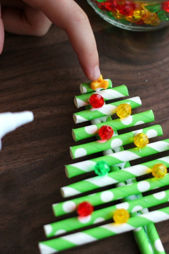 DIY paper straw ornament craft from Little Passports step 5