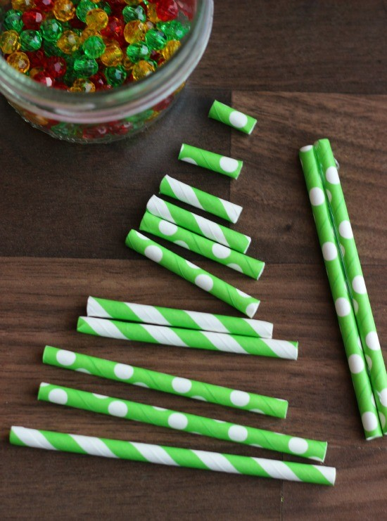 DIY paper straw ornament craft from Little Passports step 2