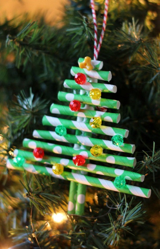 DIY paper straw ornament craft from Little Passports step 7