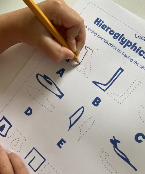 learn and practice writing hieroglyphics with this printable from Little Passports