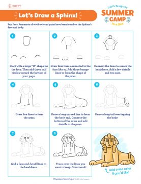 How to draw a sphinx printable from Little Passport's Summer Camp in a Box program and World Edition subscription line