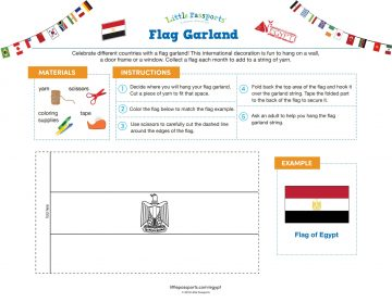 Flag of Egypt flag garland printable from Little Passport's World Edition subscription