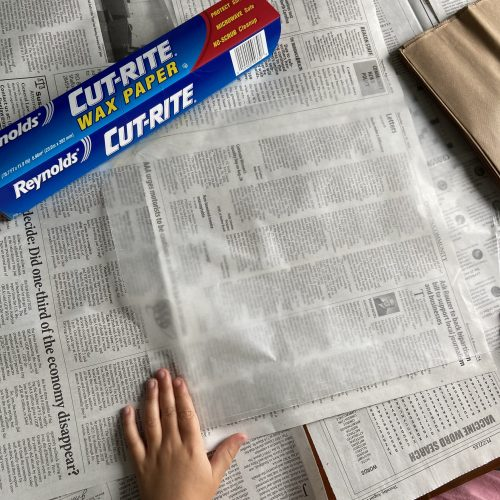 create a papyrus scroll step 1: spread out newspaper to cover workspace