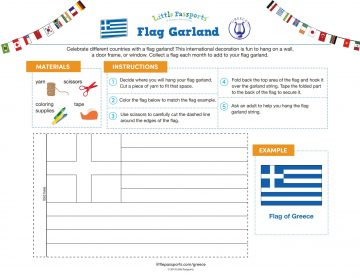 Flag of Greece flag garland printable from Little Passports' World Edition subscription line