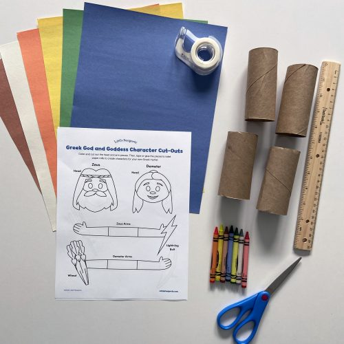 Supplies to make Greek gods and goddesses craft from Little Passports