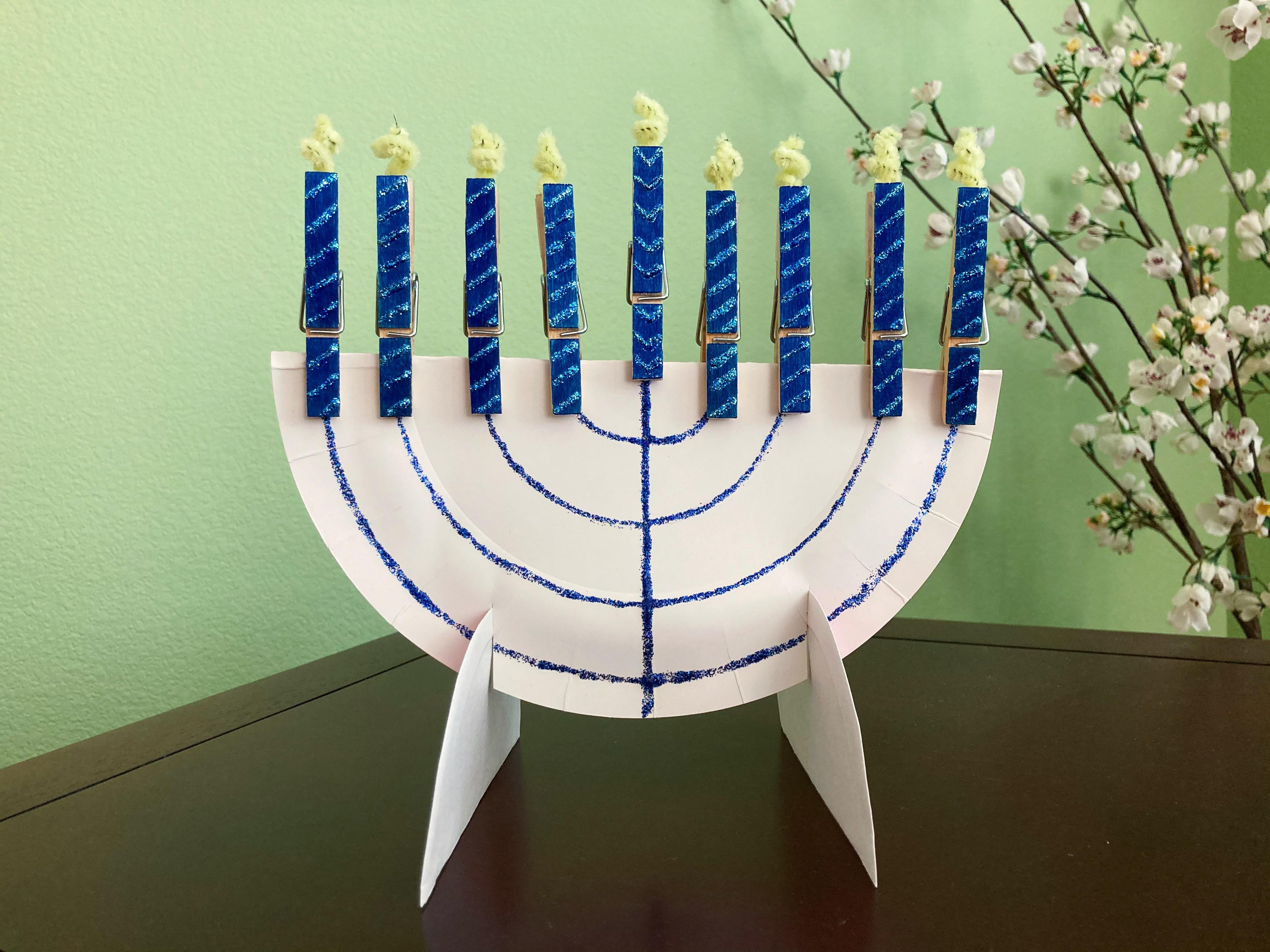 DIY menorah craft from Little Passports step 12