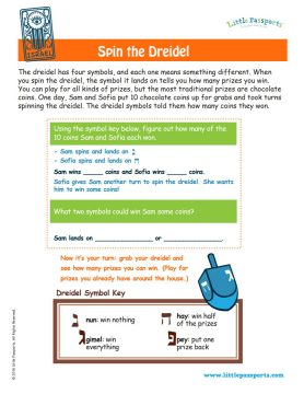 dreidel puzzle game printable from Little Passports' World Edition subscription line