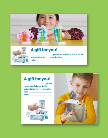 Science Junior Printable Gift Card