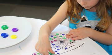 Child painting on a dandelion template