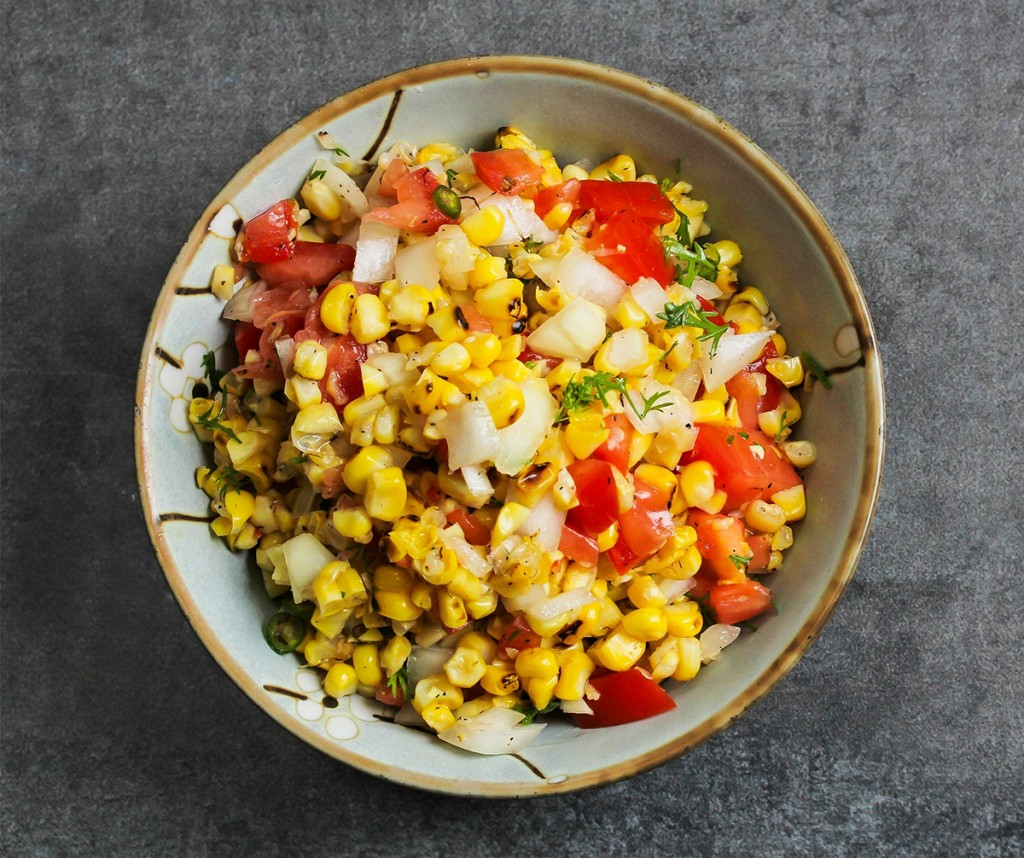 Grilled corn salad in a bowl