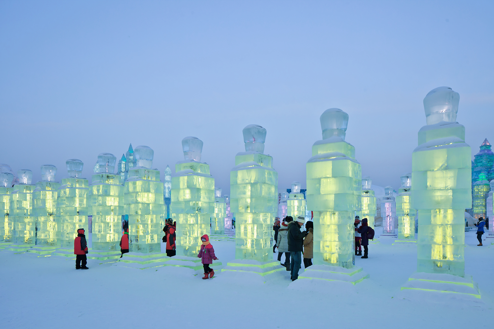 Lit up ice sculpture at the Harbin International Ice and Snow Sculpture Festival