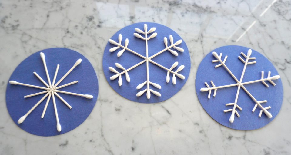Coton-tige flocon de neige artisanat d'intérieur