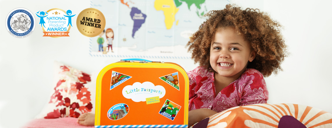 Preschool children with their unique gift for toddlers, learning about world geography with the educational subscription Little Passports
