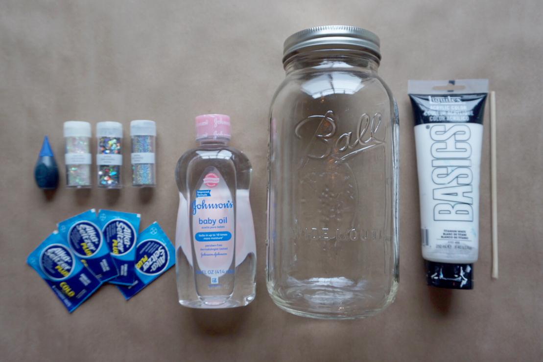 Snowstorm in a jar supplies