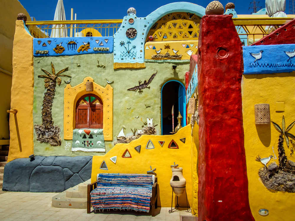 Colorful Nubian houses in West Suhail - Little Passports photo gallery