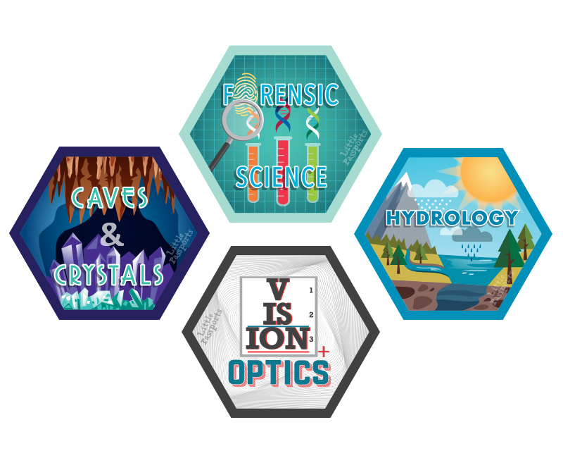 Forensics, Caves and Crystals, Hydrology and Vision & Optics Science Experiment Kits For Kids