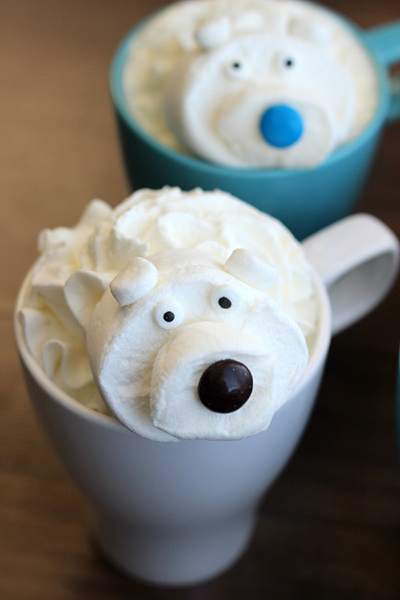 Make this white hot chocolate recipe with only 4 simple ingredients you probably already have in your kitchen! Then top it off with an adorable polar bear marshmallow for one impressive cup of hot chocolate!